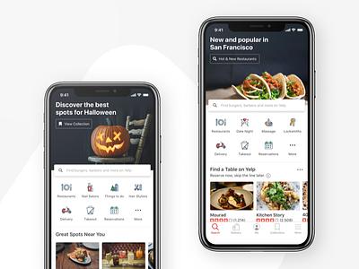 Homescreen Header yelp holiday services restaurants design app ios mobile ux ui