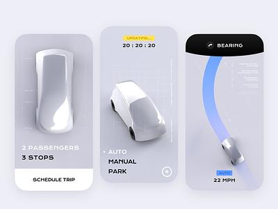 Welcome to 2020 concept render autonomous car trip cinema 4d app minimal cyberpunk car 3d mobile ui design c4d
