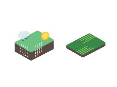 Nitrogen Booklet Icons, 2 isometric nitrogen management rain sun fields farm iconography icons farming agtech agriculture farmlogs