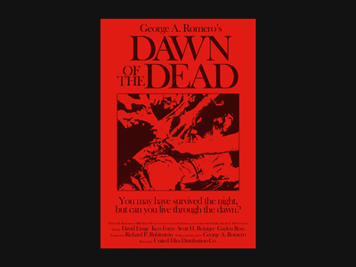 Dawn of the Dead (1978) poster art branding movie poster challenge poster a day poster logo film cover typography illustration font type simple design