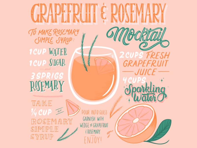 Grapefruit & Rosemary Mocktail lettering artist editorial art editorial illustration editorial design editorial layout lettering art calligraphy cocktail illustration editorial typography lettering procreate mocktail