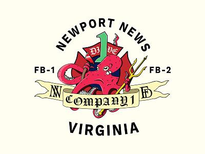 Newport News Fire Logo merchandise clothing design scuba dive scuba underwater dive graphic design banner ax octopus fire fighters fire character design logo