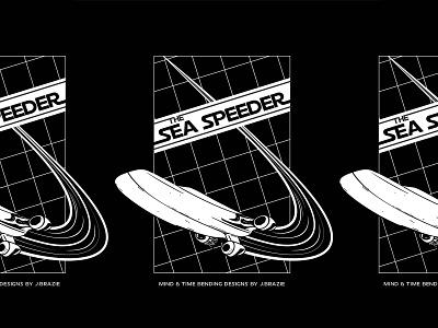 Sea Speeder parody starwars typography line art black and white logo illustration graphic design