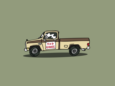 Dad Grass Delivery Truck graphic design logo cannabis marijuana cbd truck vehicle character design illustration social media