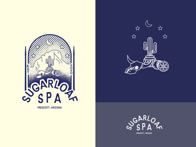 Sugarloaf Spa southwest lime skull cactus western arizona spa stipple halftone hand drawn retro vintage clothing design illustration graphic design logo
