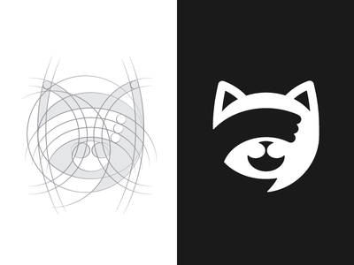 anonymous chat app icon icon symbol logo mark face paw anonymous grid chat cat