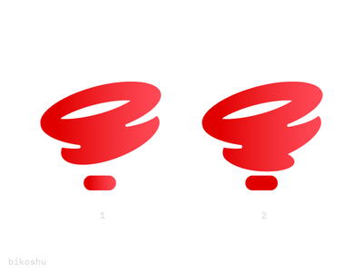 Logo concept for Bikoshu (pin+tornado) mark icon logo fast speed pin locate tornado