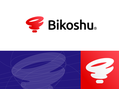logo and app icon for Bikoshu (wip) grid app icon mark icon logo fast speed pin locate tornado