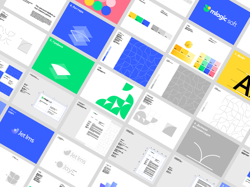 mlogic soft - Brandbook business card system logotype pattern color design illustration grid mark logo guidebook brandbook branding