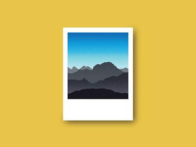 Roadtrip gradient national park camping mountains snapshot polaroid california yosemite illustration