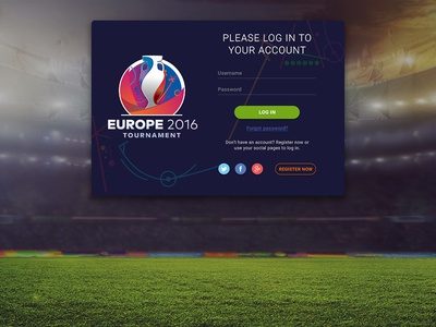 First Shot - Login Page  first shot euro 2016 login page registration sport soccer football redesign logo ux ui