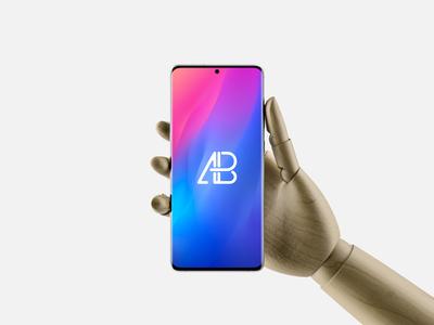 Hand Holding Samsung Galaxy S20 Ultra Mockup