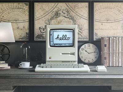 1984 Apple Macintosh Mockup realistic freebie showcase psd free mockup computer macintosh mac desktop apple retro