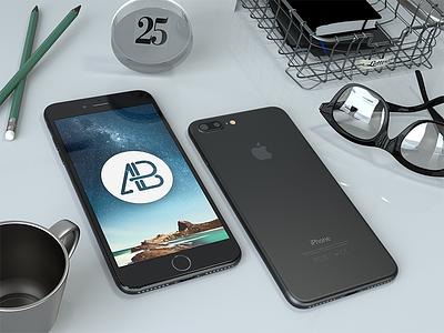 Realistic Black iPhone 7 Plus Mockup iphone 7 iphone 7 plus plus mockup maxon premium freebie free 7 iphone apple realistic