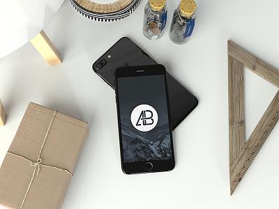 Realistic Jet Black Iphone 7 Plus Mockup thea render maxon 3d iphone 7 freebie free premium realistic iphone 7 plus iphone apple
