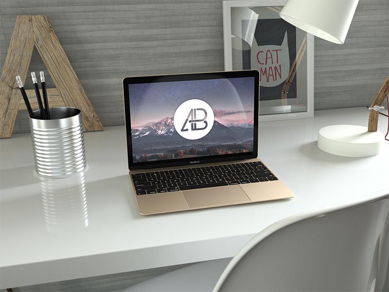 Realistic Gold 12 Inch Macbook Mockup gold freebie free premium realistic macbook apple