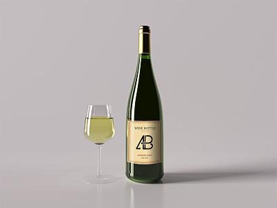 Realistic Wine Bottle Mockup Vol.2 thea render cinema 4d maxon premium freebie free mockup bottle wine