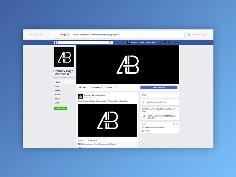 facebook page mockup 2017 template psd by anthony boyd graphics dribbble dribbble. Black Bedroom Furniture Sets. Home Design Ideas