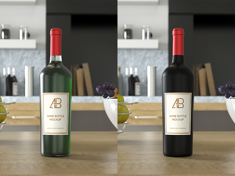 Wine Bottle PSD Mockup mockups branding glass showcase freebie free mockup bottle wine