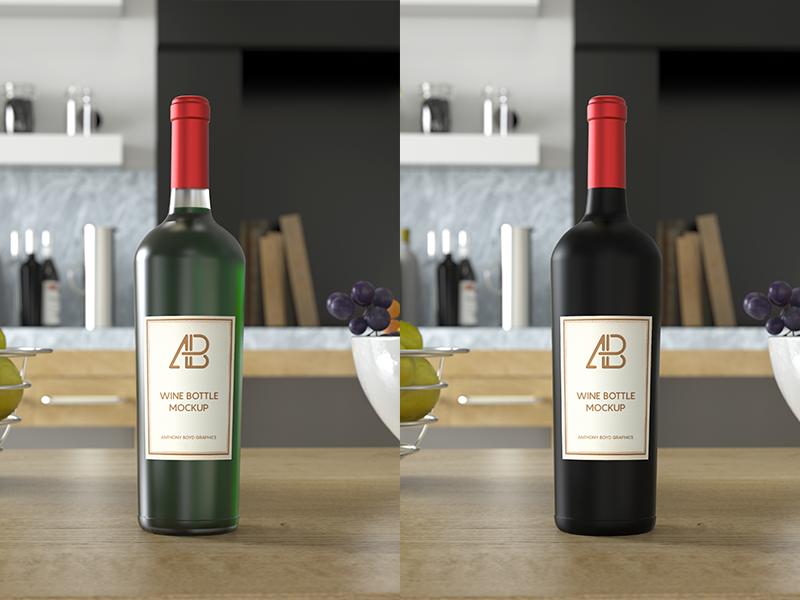 Wine Bottle PSD Mockup mockups branding glass showcase freebie free mockup bottle wine