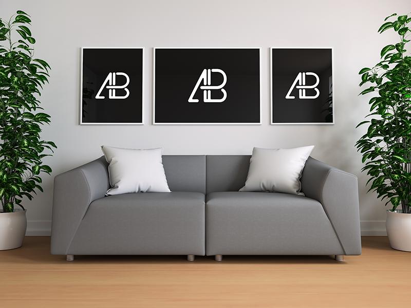 Triple Poster In Living Room Mockup