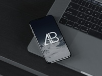Iphone 8 on macbook pro mockup   anthony boyd graphics