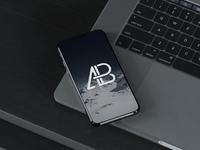 iphone 8 on macbook pro mockup   anthony boyd graphics - iPhone X On MacBook Pro Mockup