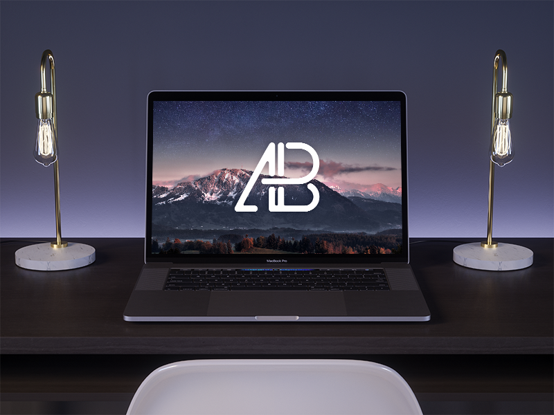 2017 Macbook Pro On Desk Mockup
