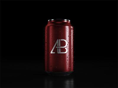 5k Soda Can With Water Drops Mockup branding showcase freebie free template psd mock up mockup can soda 5k