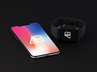 iphone x and apple watch series 3 mockup by anthony boyd graphics  1  - iPhone X And Apple Watch Series 3 Mockup