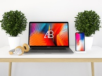 Modern iPhone X And MacBook Pro Mockup Vol.2