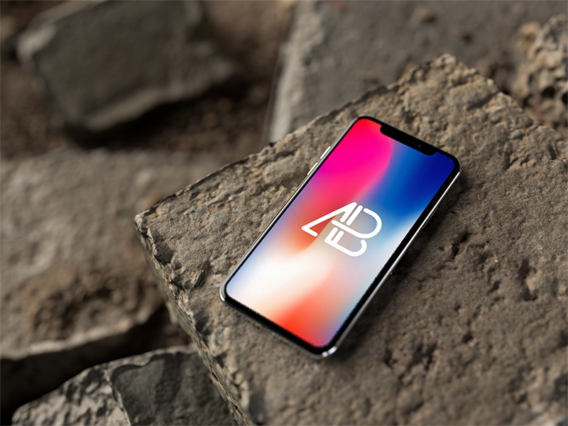 Iphone x on rocks mockup by anthony boyd graphics  6