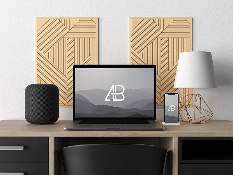 Modern macbook pro and iphone x on desk mockup by anthony boyd graphics  3