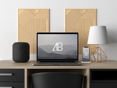 Modern Macbook Pro And Iphone X On Desk Mockup