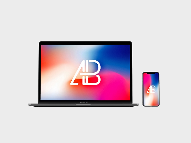 Front View Iphone X And Macbook Pro Mockup app website identity branding showcase free mockup iphone x macbook pro