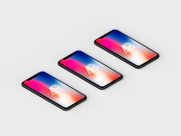 Isometric iPhone X Mockup Vol.4