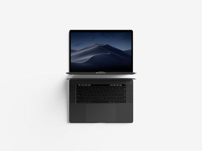 Modern Top View Macbook Pro Mockup showcase ux ui minimal free mockup touch bar macbook pro modern