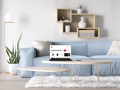 Bezel Less Macbook Pro In Living Room Mockup apple psd free mockup bezel less