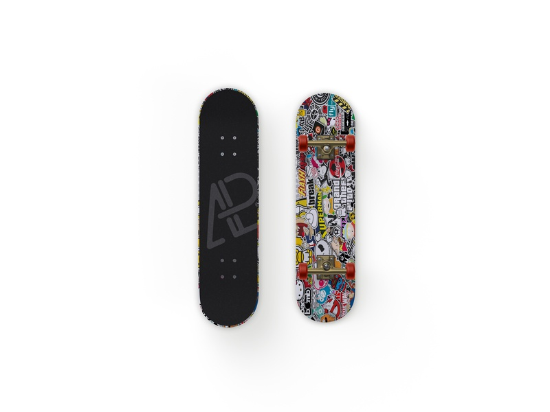 Front And Back Customizable Skateboard Mockup showcase branding psd free mockup skateboard customizable