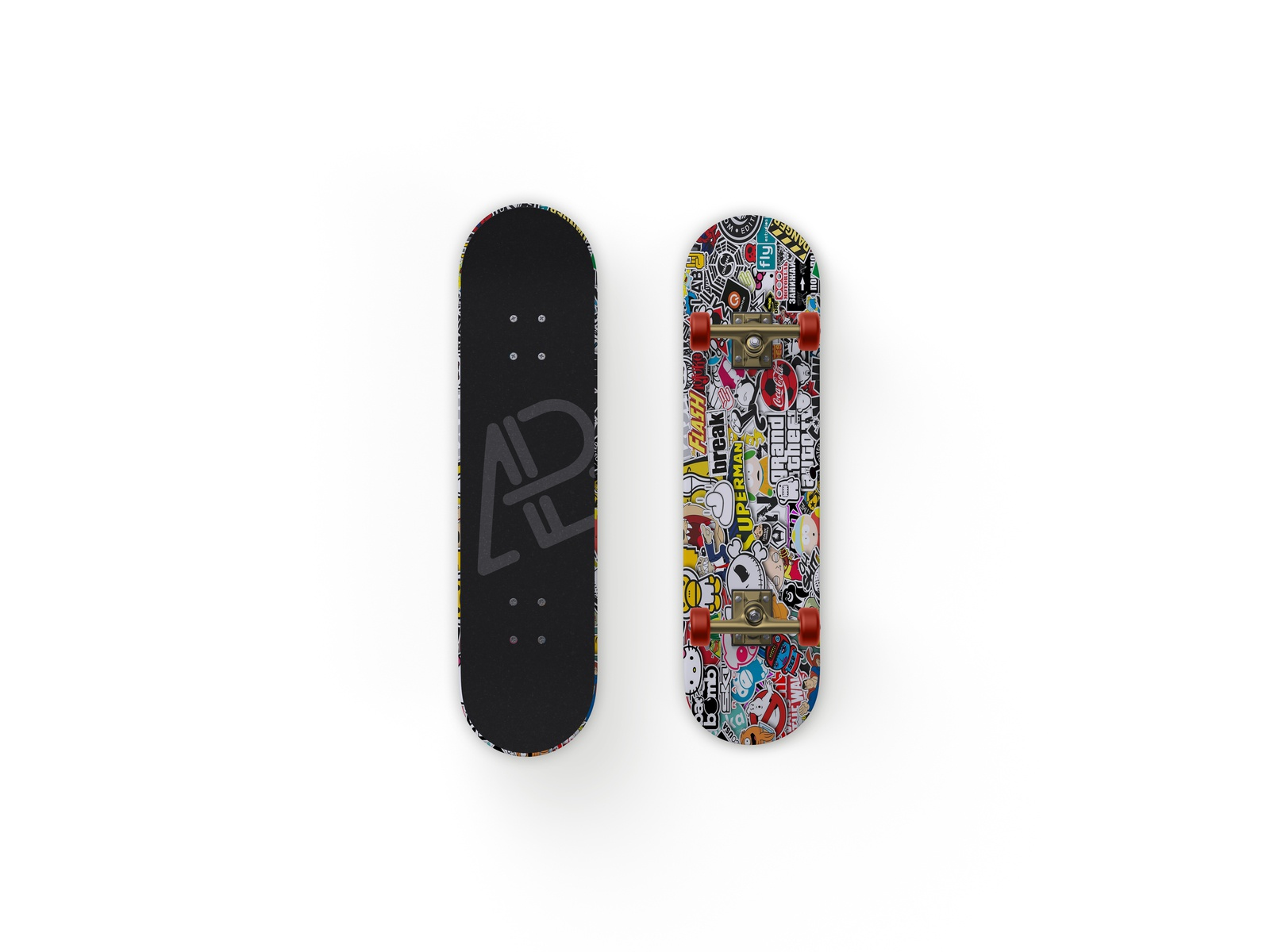 Front and back customizable skateboard mockup by anthony boyd graphics  1  4x
