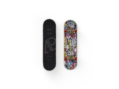 Front And Back Customizable Skateboard Mockup showcase branding psd free mockup skateboard customizable