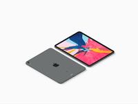 Isometric iPad Pro 2018 Mockup