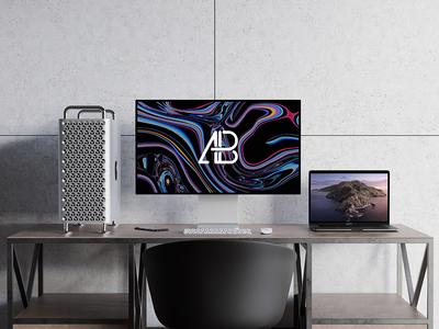 2019 Mac Pro And MacBook Pro Mockup