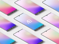 Isometric Samsung Galaxy Note 10 Pro Mockup