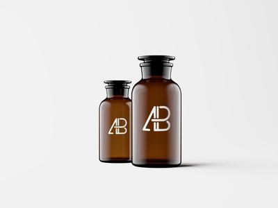 Amber Glass Apothecary Jars Mockup