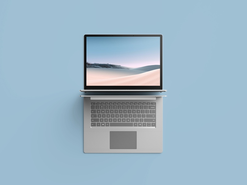 Top View Surface Laptop 3 Mockup surface laptop microsoft freebie showcase psd free mockup