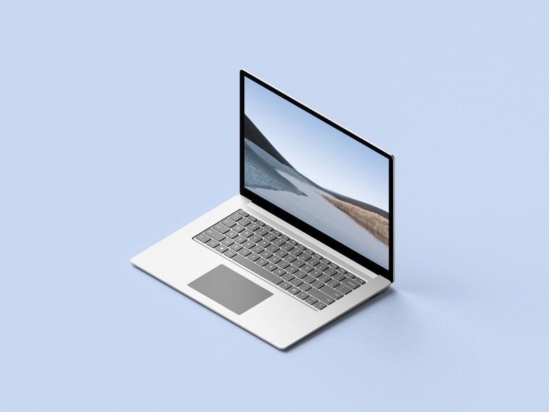 Isometric Surface Laptop 3 Mockup laptop surface microsoft freebie showcase psd free mockup