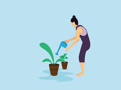 Lady watering plants vector design illustration