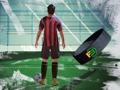 Futback conceptual rendering and wrist connector modeling sport modeling obejct iot futsal