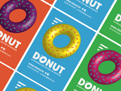 Identity and business cards for Donut Infolab big data data logo identity donut